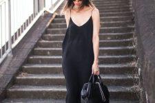 16 black slip dress with slippers