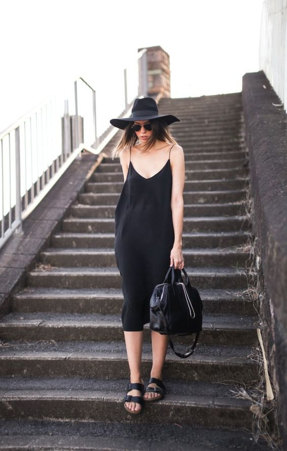 black slip dress with slippers