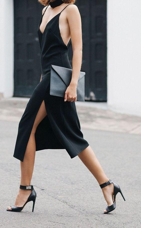 black spaghetti strap dress and black heels