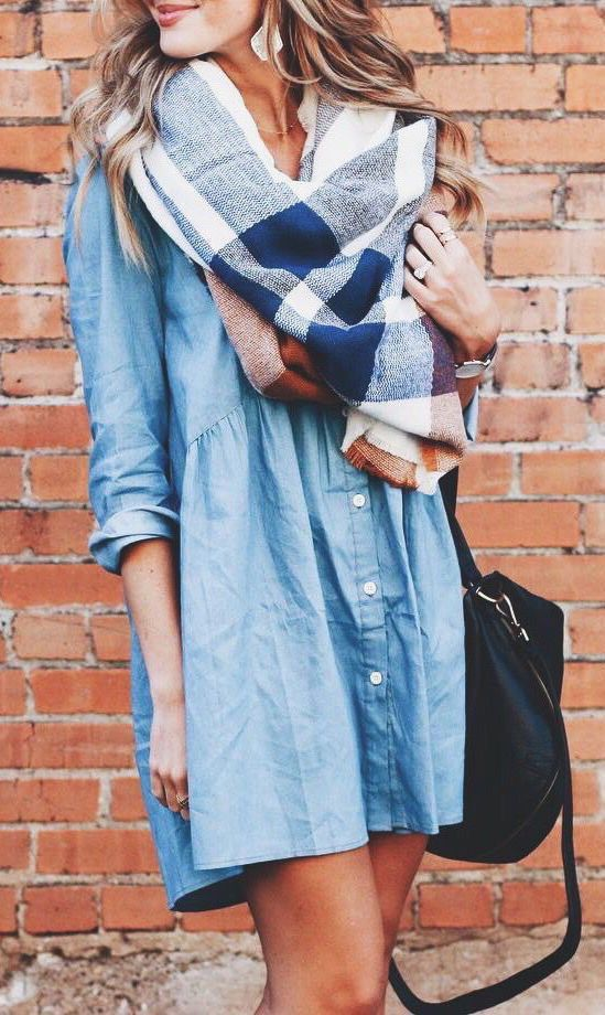 a chambray dress, a plaid scarf and a black bag