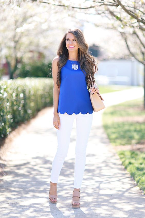 a scalloped hem tank in royal blue, white skinnies, beige sandals