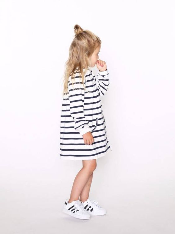 striped T-shirt dress with black and white sneakers