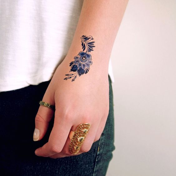 Blue Flower Tattoo Designs: 31 Small Hand Tattoos That Will Make You Want One