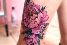 20 bold pink flower leg tattoo