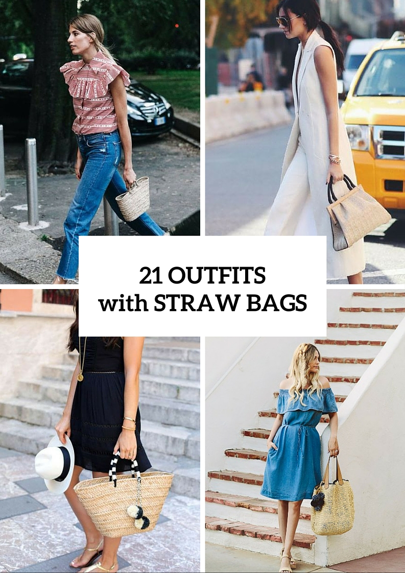 Relaxed Outfit Ideas With Straw Bags