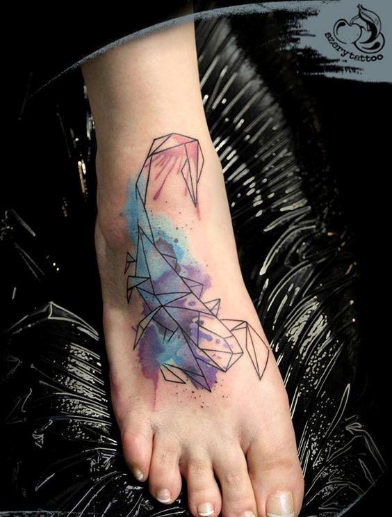 22 geo watercolor scorpio on a foot