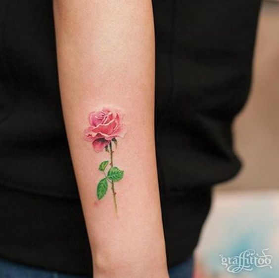Picture of subtle tiny rose on an arm for Subtle male tattoos