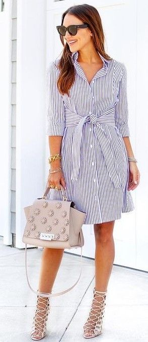 striped shirt dress with strappy heels