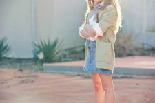 24 denim skirt, a white shirt and blue sneakers