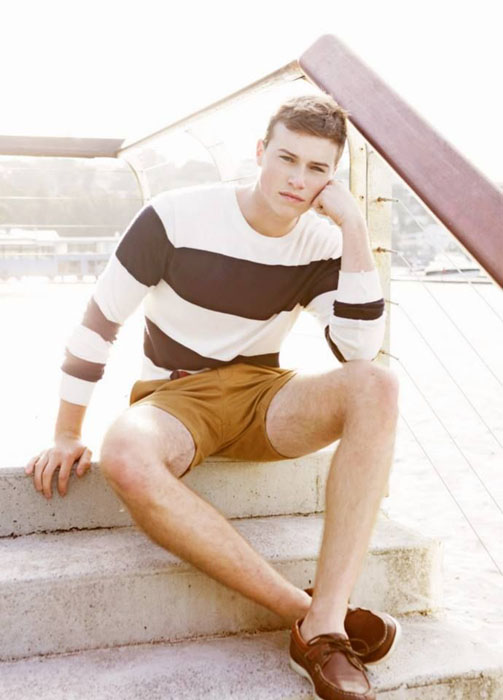 striped long-sleeve, amber shorts and brown top-siders