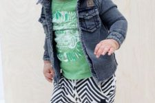 24 striped pants, a green tee, a denim jacket and blue chucks