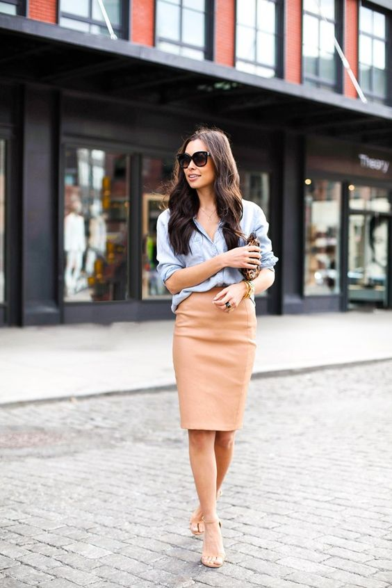 tan leather pencil skirt with a chambray shirt and tan heels