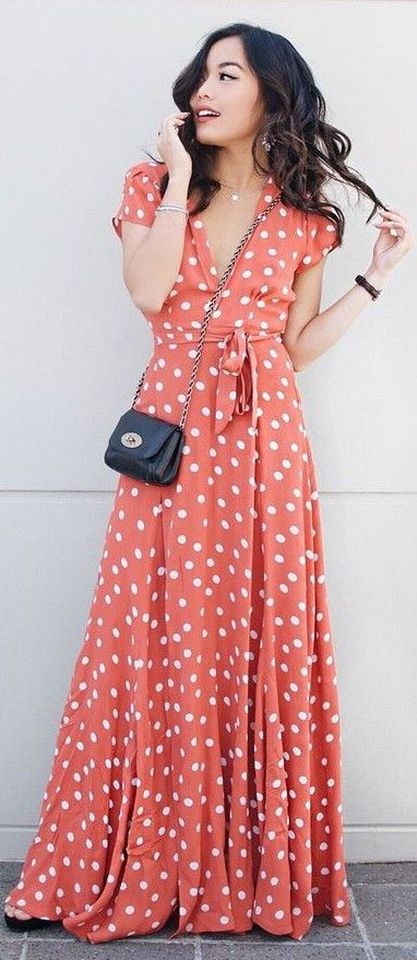 coral polka dot maxi dress