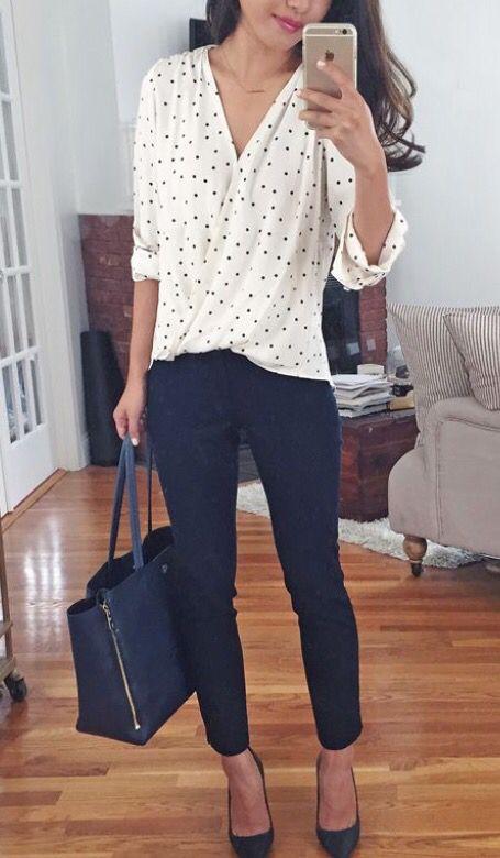 navy skinnies, a polka dot shirt and shoes
