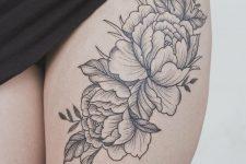 25 peony flower thigh tattoo