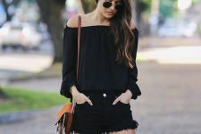 26 black denim shorts, an off the shoulder top