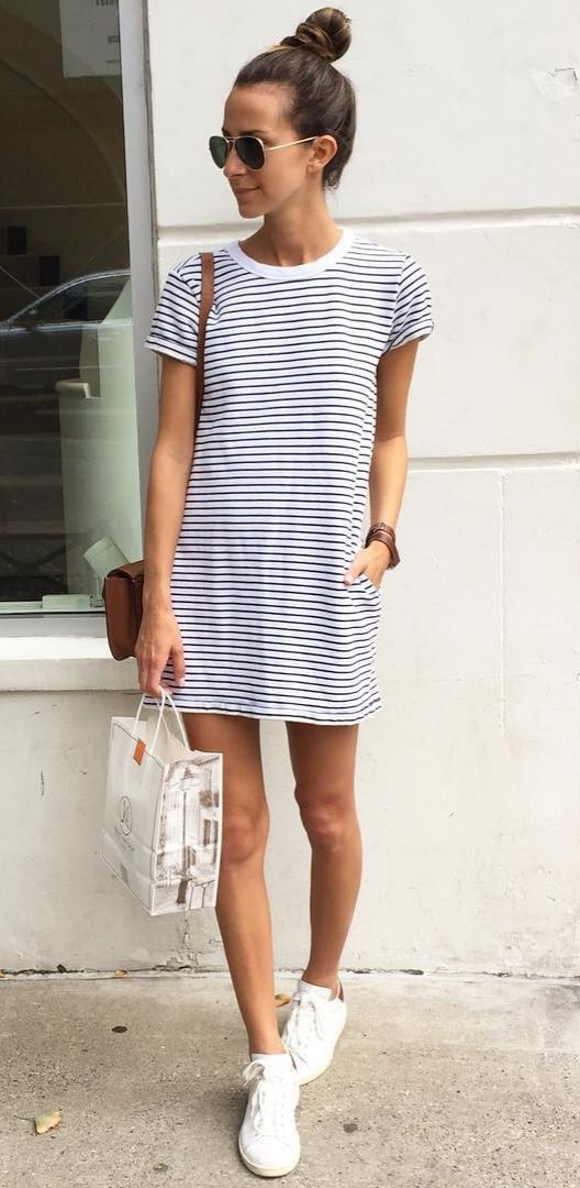 striped short dress with white sneakers