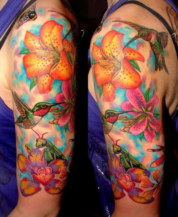 tropical tattoo sleeve with lilies