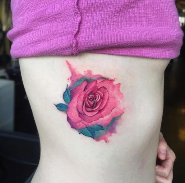 watercolor rose on a side