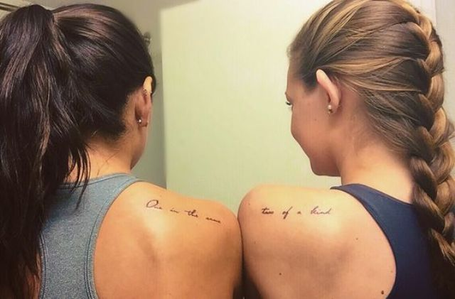 bff shoulder phrase tattoo