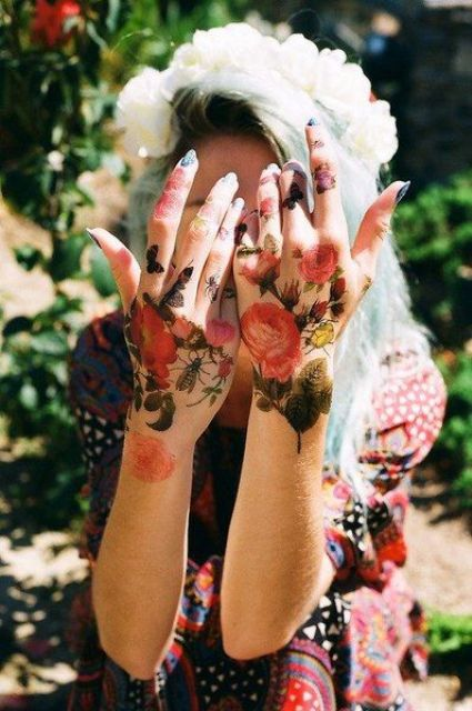 watercolor flowers tattoos on hands