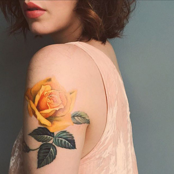 30 yellow rose arm tattoo