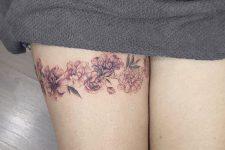 33 pink flower legband tattoo