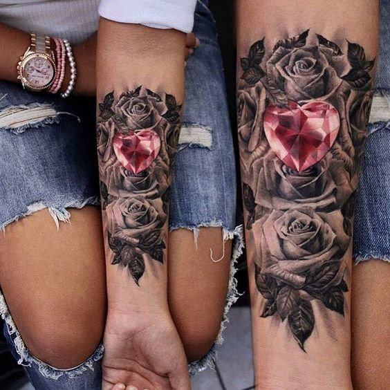 Picture Of black roses and a diamond heart matching tattoos