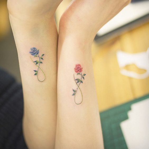Picture Of matching rose tattoos on arms