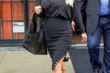 All black outfit with lace up skirt