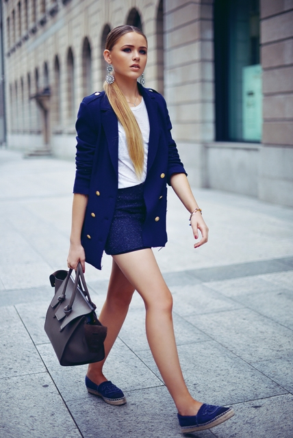 All blue look with jacket, skirt and flats