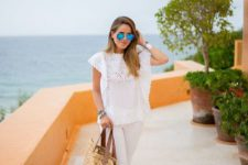 All white outfit with straw bag