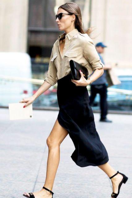 Black midi skirt and button down shirt