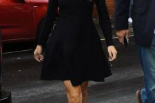 Black skater dress with leopard heels