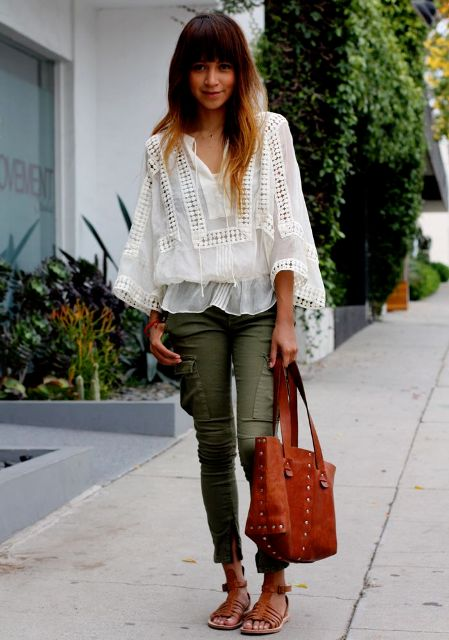 Cargo pants with boho chic blouse