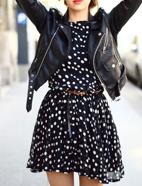 Chiffon dress with leather jacket