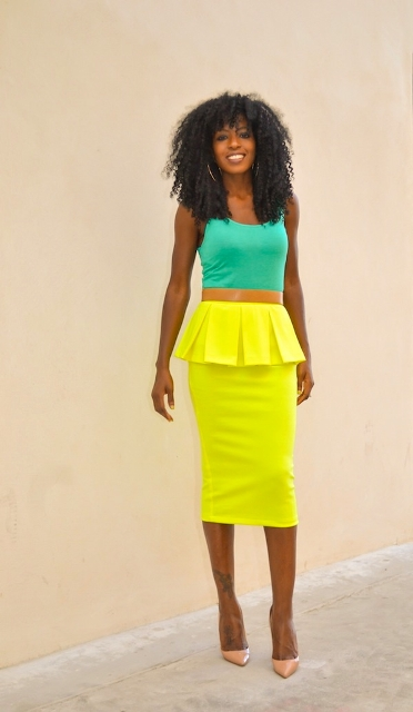 Colorful look with yellow skirt and turquoise top