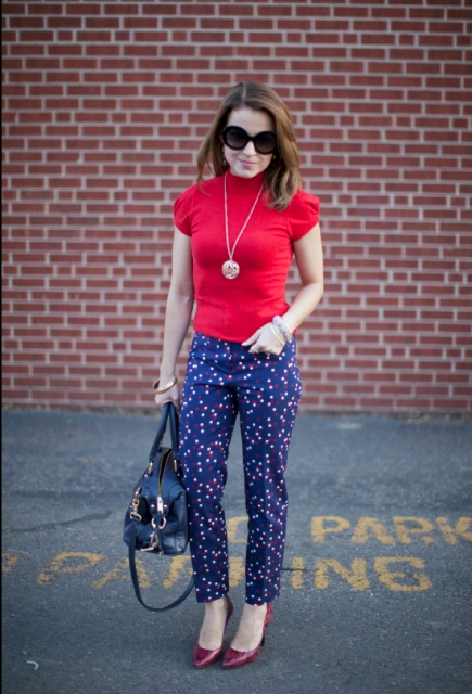 Colorful polka dot pants and bright shirt