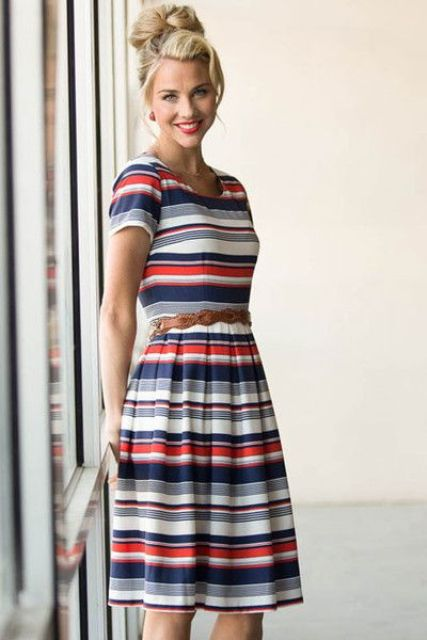 Colorful striped dress with leather belt