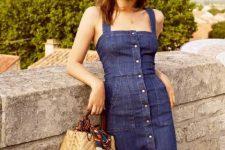 Denim dress and structured bag