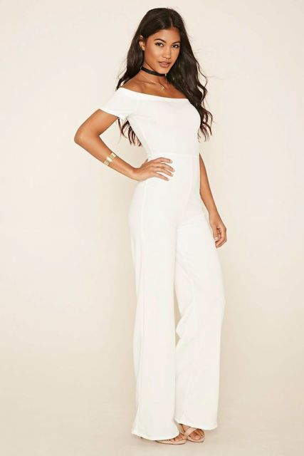 White Off The Shoulder Jumpsuit Photo Album - Reikian