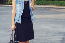 With dress, vest and heels
