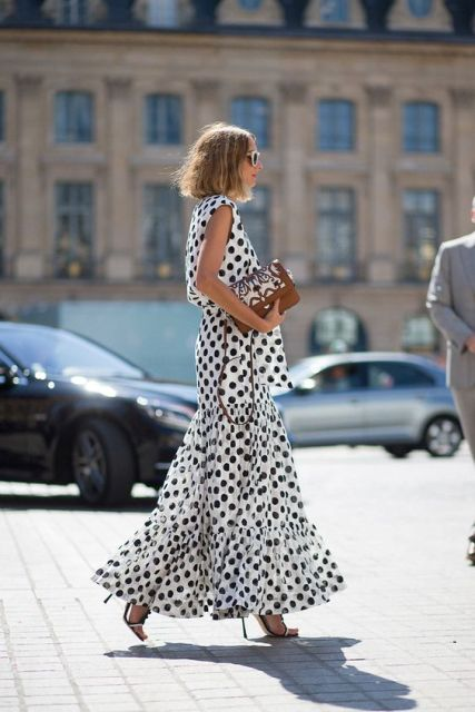 Elegant polka dot maxi dress