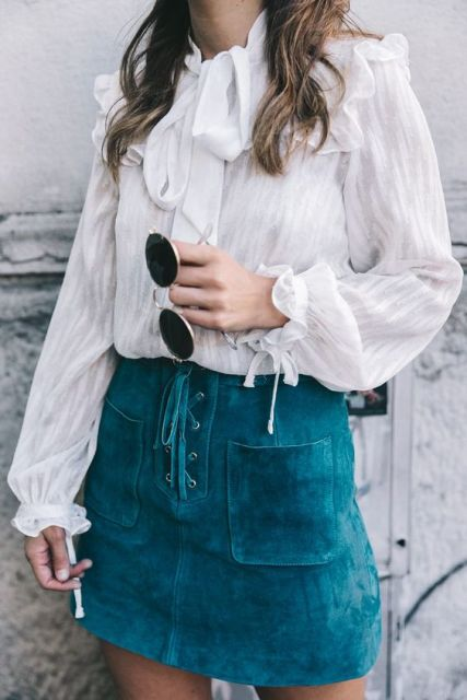 Eye-catching lace up skirt and adorable blouse