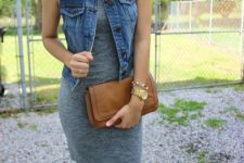 Feminine look with simple dress, denim vest and clutch