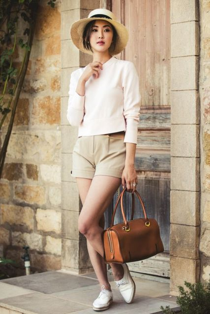 Feminine pastel color look with beige shorts, hat, blouse and loafers. Suitable for work!