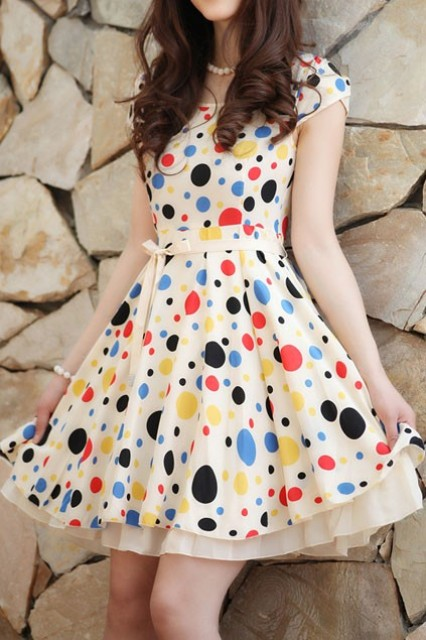Girlish look with polka dot dress and necklace
