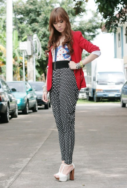 High-waisted pants and red jacket
