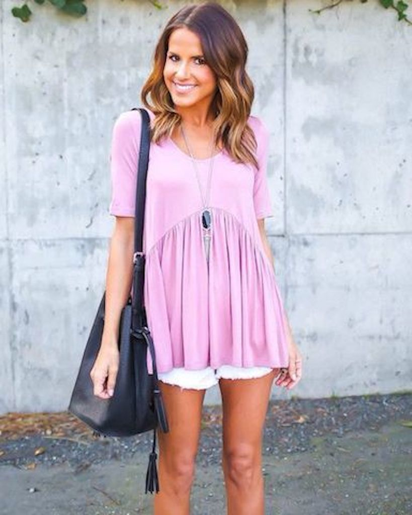Light pink top and white shorts