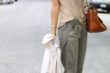 Look with cuffed cargos and heels
